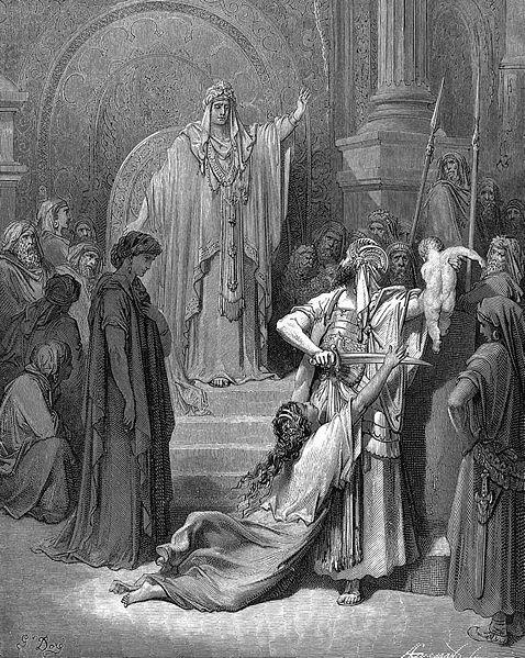 Kong Salomo dømer mellom to kvinner som krev same barn. Bilete: Gustave Doré, takk til Wikipedia for fila