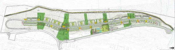 Skisse til utbygging av Øvre Kroken. Malmvegen er nederst i bildet.