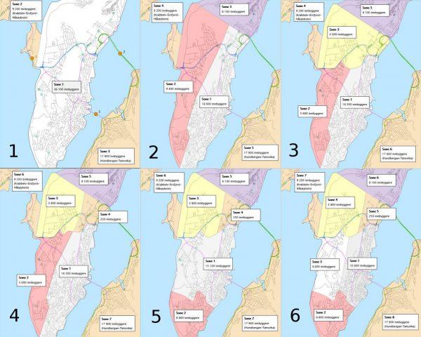 Dei seks ulike alternativa frå Statens vegvesen til kor bommane kan vere.