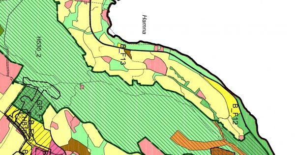 Utsnitt forslaget til arealplan - Hamna