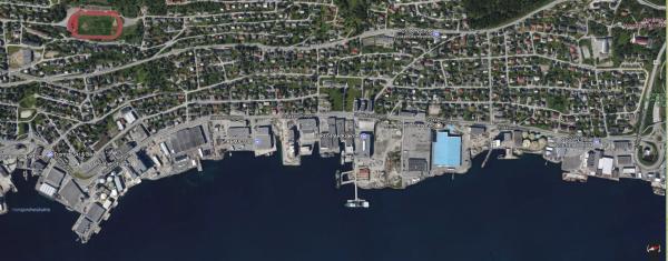 Utsnitt frå Google Maps som viser Stakkevollvegen