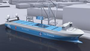 Designteikning av Yara Birkeland sitt skip.